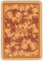 Playing Cards 1 Swap Card - Old Antique English Wide DAFFODIL FLOWERS Flower