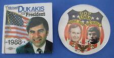 2 Political Pinback Buttons Badges Bush Quayle Dukakis President 1988 Election