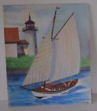 Painting Frank Dillard 1993 Sailboat Boating Lighthouse