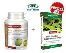 Apple Cider Vinegar 500mg 120 Caps & Green Coffee Bean & Rasp Ketones 60 Caps