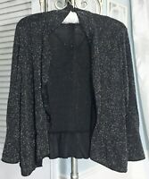 NEW Plus Size 3X Black Open Cardigan Jacket Glitter Sparkle Silver Topper