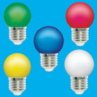 Assorted 5 Pack 0.5W Coloured E27 LED Light Bulbs Golf Ball ES Festoon Lamps