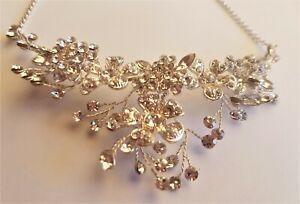 Alan Hannah Devoted Silver Vine Crystal Floral Bridal Necklace NWT