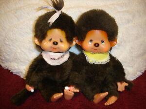 2 Monchichi Monchhichi Junge + Mädchen 1974 KIKI Sekiguchi Sammler Vintage