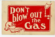 """Don't Blow Out Gas"" Old Man Blowing on Natural Gas-Fired Lab Torch Humor 1914"