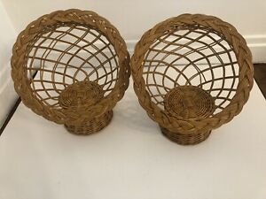 Vintage Wicker Rattan Chair Doll Plant Stand Boho Decor Set Of 2