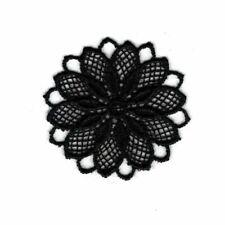 Patch Ecusson Thermocollant Fleur Dentelle en Rosace Coloris Noir 3,50 x 3,50 cm