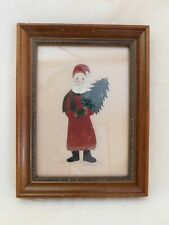 Nancy Stillwagon Painted Trapunto Fabric Art Folk Art Santa Claus Christmas 5x7