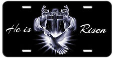 CUSTOM LICENSE PLATE CHRISTIAN HE IS RISEN DOVE PRAYING HAND CROSS AUTO TAG