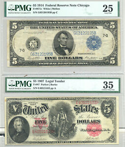 $5 Series 1907 Woodchopper VF 35 and $5 Series 1914 Federal Reserve Note VF 25