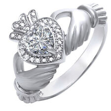 Simulated Diamond Claddagh Engagement Ring 14k White Gold Over Sterling Silver