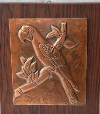 Kupferbild- Relief  auf Holz exotisches Motiv Papagei