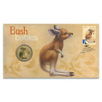 Australia 2011 Bush Babies Kangaroo Stamp & $1 UNC Coin Cover - PNC