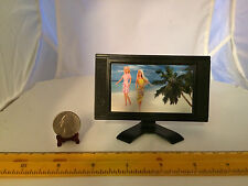 1/6 SCALE MINIATURE BARBIEr TV ON STAND REALLY CUTE PLASTIC FURNITURE