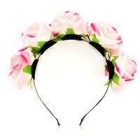 Rose Flower Crown Headband Wedding Festival Bridal Garland Hairband Double RowSM