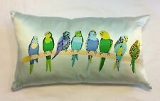 100% Silk 8 PARAKEETS on Branch 12 X 21 Long THROW PILLOW by WEST ELM Green BLUE