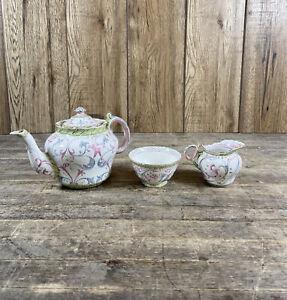 Antique Bishop & Stonier Bisto Hand Painted Tea Pot, Milk Jug & Sugar Bowl.