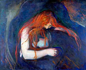 Vampire by Edvard Munch A1+ High Quality Canvas Art Print