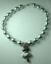Statement Silver Shell Pearl Necklace  Abalone Amethyst Sterling Silver Wedding