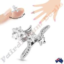 Silver Rhodium Plated Adjustable Nail Ring with Multi Gem Stars