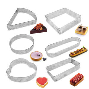 Baking Mould DIY Egg Tart Ring Stainless Steel Perforated Mold Mousse Cake Ring