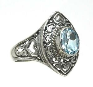 Handmade Sterling Silver .925 Bali Marquis Solitaire Ring w Heart Accents w Gem.