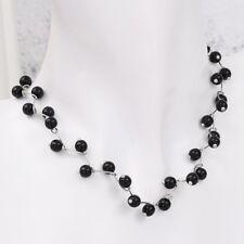 Elegant Ladies Girls Pendant Chain Pearl Choker Party Black Necklace Jewelry 1pc