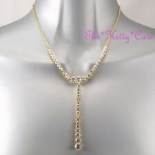 Deco Vintage Hollywood Celebrity Glamour 14k Gold Necklace w/ Swarovski Crystals