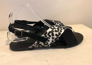 Next Ladies Sandals 6.5 Beach Summer Holiday Leather Casual Black Slingback