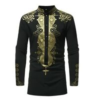 Men's Printed Long-sleeved Collar Shirt Casual Personality African Ethnic Style