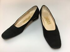 Salvatore Ferragamo Low Heel Black Suede Pumps Sz 7.5 AAAA Luminosa Gold Accent