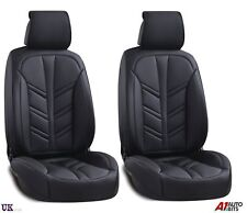 Universal High-Quality Deluxe Black PU Leather Front Car Seat Covers Padded