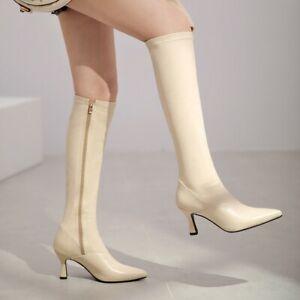 Knee High Boots Leather Kitten Heels Pointy Toe Side Zip Solid Women Shoes 34-41