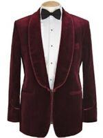 Blazer Coat Burgundy Velvet Men Suit Jacket Tuxedo Groom Wedding Shawl Lapel