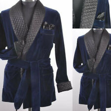 Mens Smoking Jacket Quilted Blue Velvet Robe Gown Evening Party Wear Blazer Coat