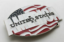 New Men Women Belt Buckle Fashion Silver Metal USA Flag United States Of America
