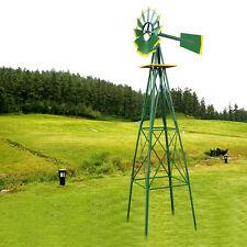 Metal Windmill 8 Foot Garden Yard Decor Outdoor Spinner Sculpture Lawn Wind Art