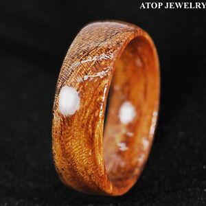 8/6mm Gorgeous Hawaiian Koa Wood Domed Ring Men Wedding Band ATOP Jewelry