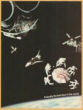CARLSBERG BEER in Space  - 1985 Vintage Print Ad