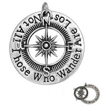 "Compass "" Not All Those Who Wander Are Lost "" Pendant for Necklace"