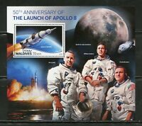 MALDIVES 2018 50th ANN OF THE LAUNCH OF APOLLO 8  SOUVENIR SHEET MINT NH