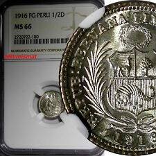 Peru Silver 1916/5 Fg 1/2 Dinero Lima Ngc Ms66 Top Graded By Ngc Km# 206.2
