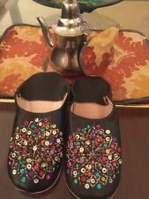 Authentic Handmade Moroccan Leather Slippers Shoes Babouches Sz 8 Sequin NEW