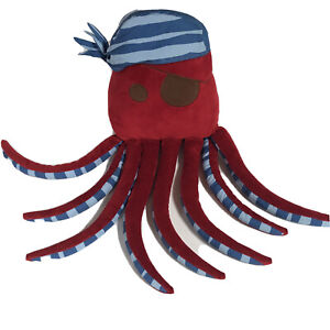 "Circo Pirate Octopus Adventures Plush 23"" Stuffed Animal Pillow Red Blue Hat"