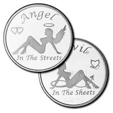 1 TROY OZ 999 Fine Silver Round Adult Angel in the Streets / Devil in the Sheets