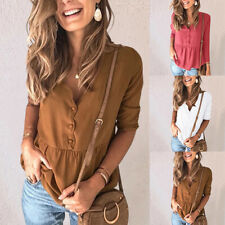 Womens Chiffon Waist Down Splice Casual Shirts Button Simple V-neck Blouse Tops
