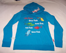 Dr Seuss One Fish Ladies Blue Printed Hoodie Top Size XS New