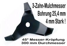 Freischneider Mulchmesser 300 / 25,4 / 45° 4mm 3-Zahn Dickichtmesser Motorsense