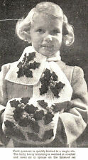 Vintage Christmas knitting and crochet pattern-festive holly leaf & berry scarf-