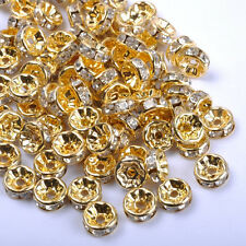 50/100Pcs Czech Crystal Rhinestone SILVER Rondelle Spacer BEADS 6MM 7MM 8MM 10MM